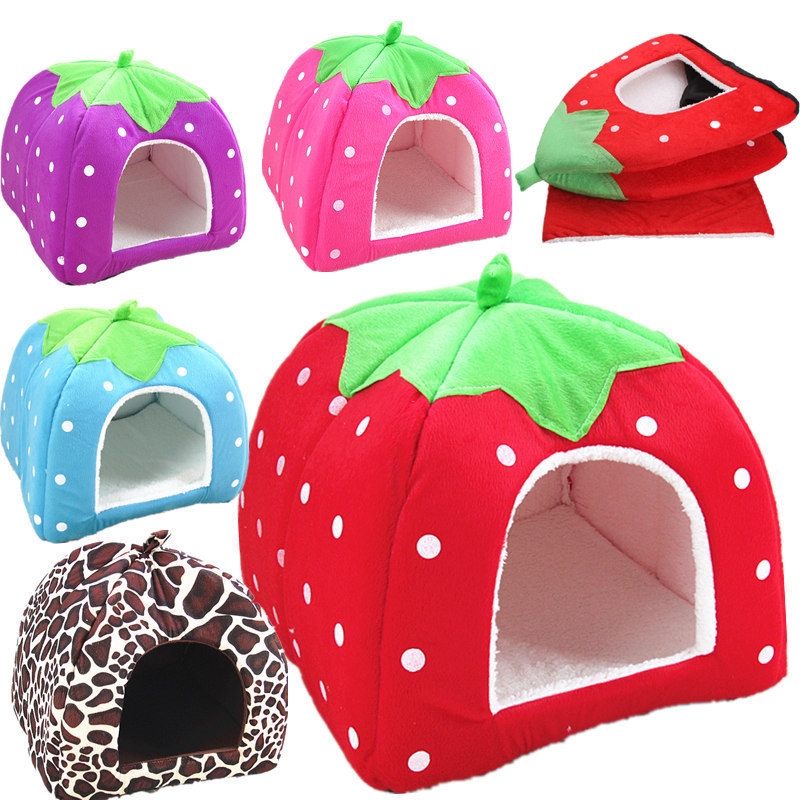 Eco friendly wholesale strawberry colorful pet products small dog bed