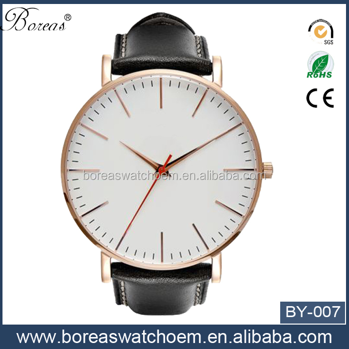 Different color Design leather strap fashion sharp hands quartz watch for man
