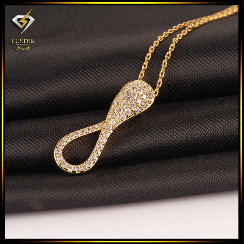 Hot Sale Simple Design Trendy Number 8 Water Drop Unisex Pendant Necklace Hight Quality Gold Plated Jewelry