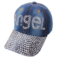 Rhinestone Crystal ANGEL Blue Jean Ladies Sparkle Bling Baseball Hat Cap