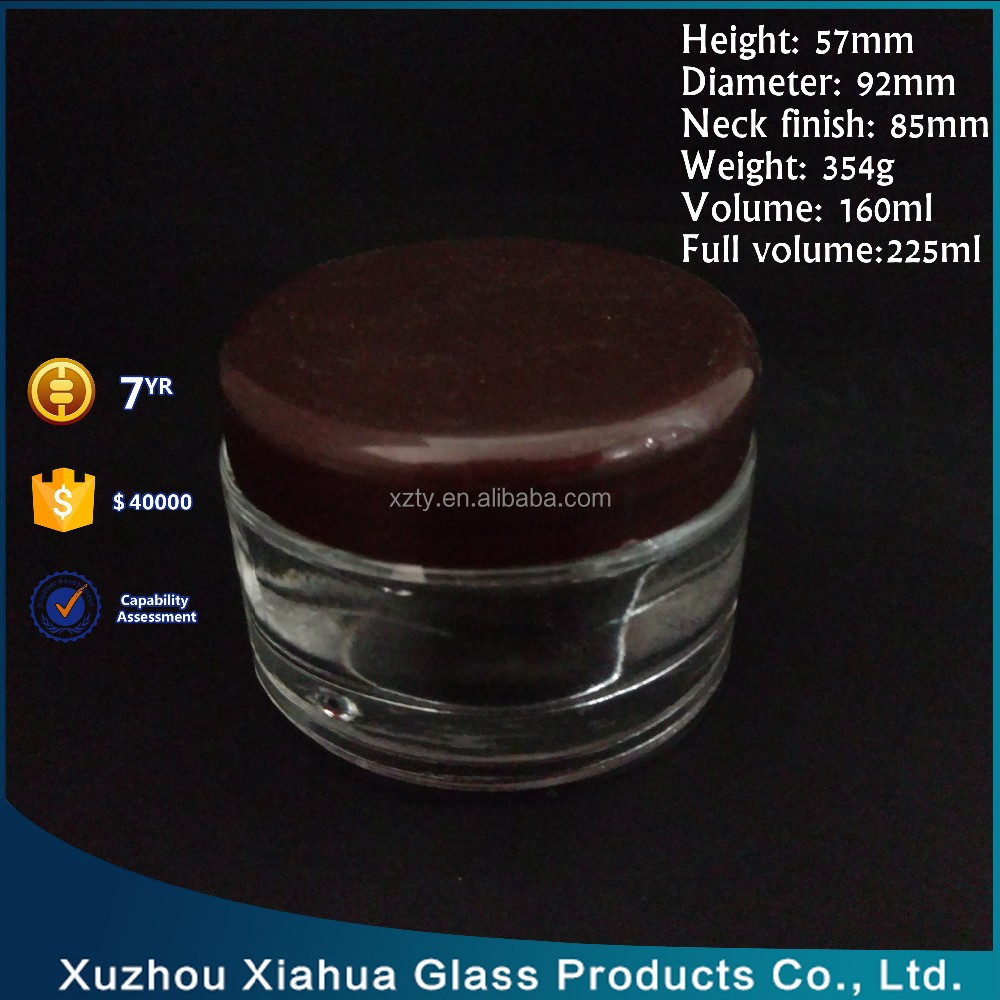 6 oz flat glass straight side cosmetic jar cream jar with screw cap wholesale