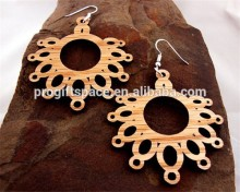 New desgin Flower of Life Sustainable Wooden Post Earrings made in China