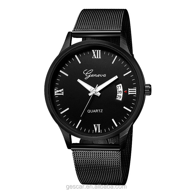 638 new geneva brand date calendar mesh belt wrist watch for men wholesale clock