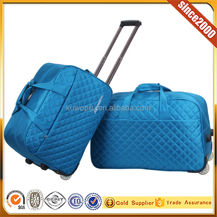 blue 19'' travel Rolling Carry On Duffle Canvas Luggage Bag
