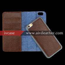Retro Brown Genuine Leather Detachable Case for Iphone 6 Wallet Cover