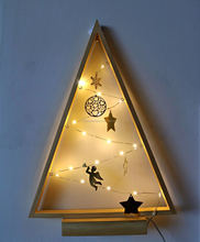 LED Wooden Triangle Tree Light Christmas Light Micro Light With Angel Star Snowflake Heart Table Lamp Night Lamp Decorative