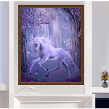 5D DIY Cross Stitch Home Wall Decor Unicorn Diamond Painting Mosaic Pictures 25cm*35cm-Y102