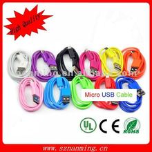 Hot sale premium neon color Micro USB data cable for mobile phone