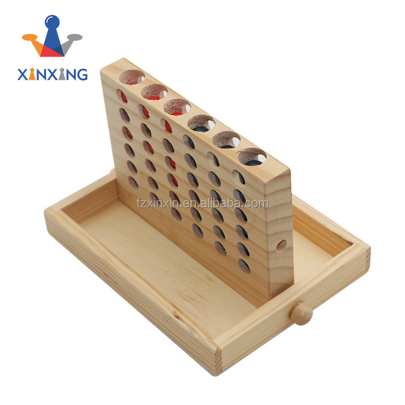 wooden mini table game set connect 4 game for kids and adult