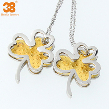 Gold foil pendant four leaf clover heart pendant for small gift thanks gift for girs