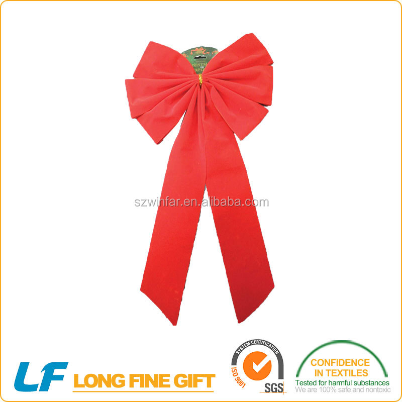 christmas red velvet hand tie bow