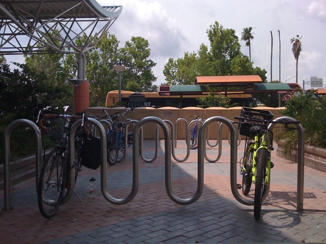 Surface mounted wave bike rack powder coated