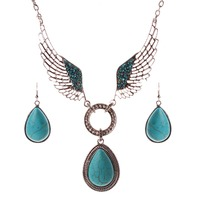 Solememo Wholesale Women's Vintage Jewelry Sets Turquoise Alloy Angel's Wing Pendant Chain Necklace Earrings SS2045