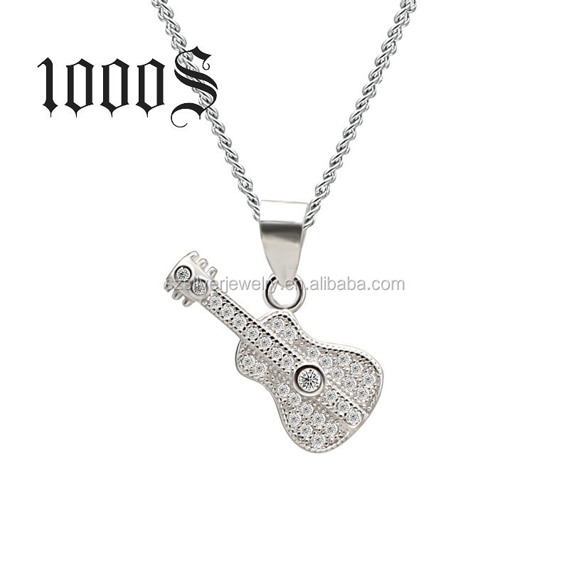 Personalized Jewelry Sterling Silver Guitar Pendant China Wholesale Market