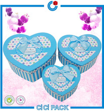 High quality paper heart shape gift wedding candy box wholesale with ribbon