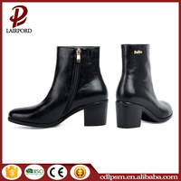 Black chunk heel women shoes 2016 ladies black italian brand leather winter boots