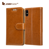 For iphone X case leather , crazy horse pattern second genuine leather wallet case for iphone X