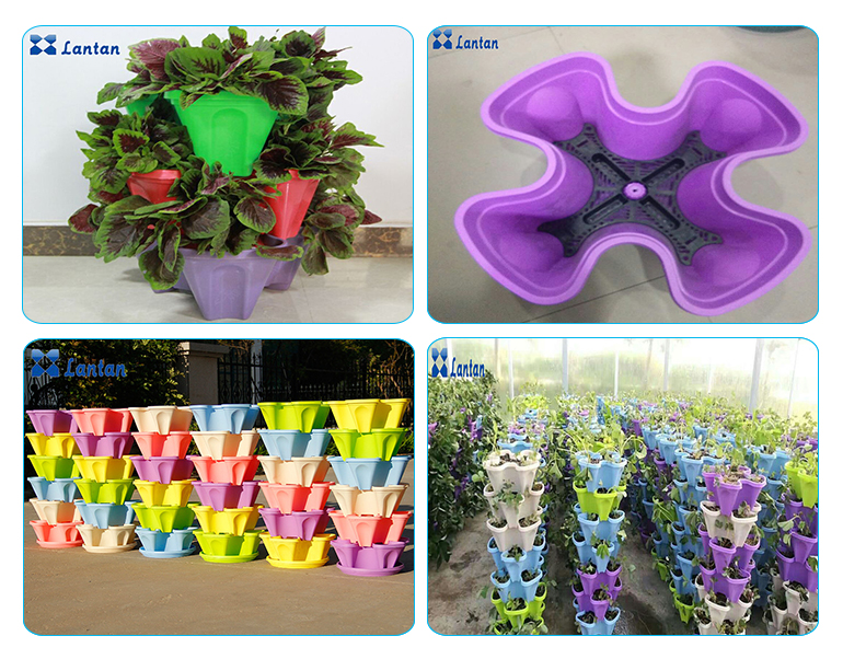 New design All sorts of color PP materilas vertical hydroponic system planting flower pot