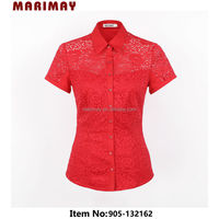 New Fashion Lace Blouse Designs New Lady Short Sleeve Shirts Elegant Blouses In Lace