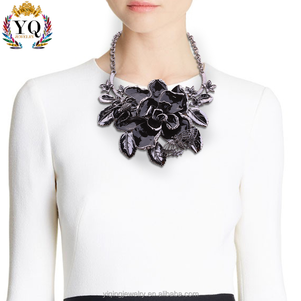 NYQ-00076 party blue/black/yellow flower insect noble enamel neck fashion jewelry statement necklace