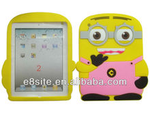 Cute Minions Series 3D Silicone Case Rubber Cover For iPad 3 iPad 2