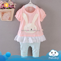 2016 wholesale guangzhou clothes summer baby girls clothing set cotton clothes set rabbit cartoon clothes set for baby girls