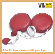 Wholesale mini stamp printed pu leather covered circle meter high-class business gift