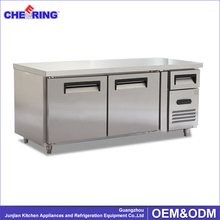 Commercial stainless steel workbench refrigerator with 2 doors for kitchen / restaurant / bar counter fridge