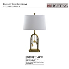 Brass table lamp with crystal decoration