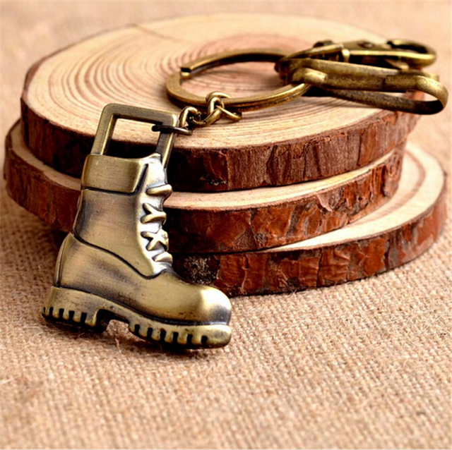 Antique Gold Boots Pendant Metal Keychains