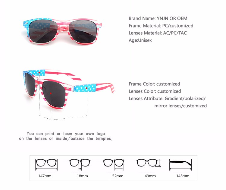 프로모션 높은 품질 YNJN 브랜드 사용자 정의 로고 성인 미국 국기 선글라스