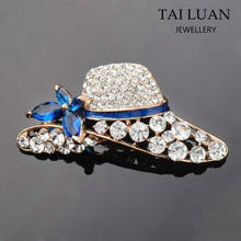Wholesale beautiful crystal hat shape brooch pins for women