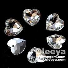 Factory wholesale crystal 18mm decorative heart glass stones.Excellent flatback sew on heart shape cz stone for dresses