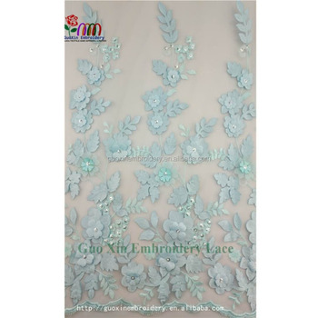 Tulle bridal lace fabric coining satin flower with shining squins and beads for wedding dress