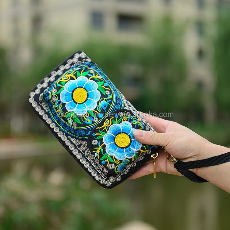 Women Embroidery Wallets Canvas Beautiful Hand Embroidery Purses Long Zipper Wallet Phone Bag