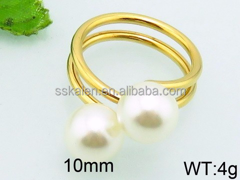 pearl ring mountings stainless steel gold plated rings jewelry women