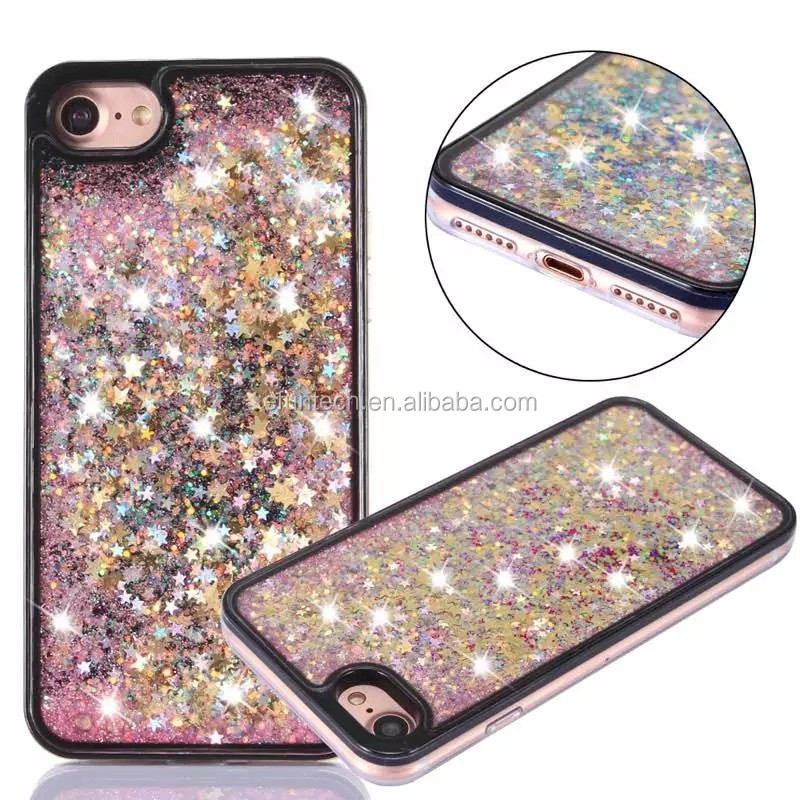 Custom new shining glitter heart liquid sand TPU gel cell phone case for iphone 7 7plus case cover