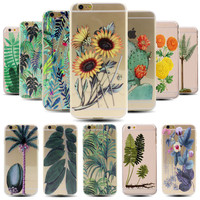 New Arrival Palm Trees Cactus Sunflowers Daisy Plant Pattern Ultra Thin Soft TPU Clear Case Cover For iPhone 6S