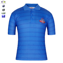 Custom Embroidery Polyester Vertical Striped Men's Polo Shirt