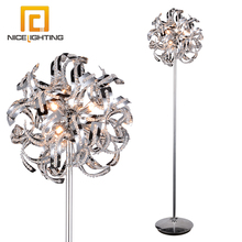 NICE lighting G9 tall elegant standing chrome table floor light decor crystal metal fancy floor lamp
