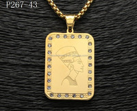 Stainless steel 18k gold diamond dog tag pendant with Egyptian designs