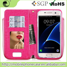 Smart Wallet Mobile Phone Case For Samsung S7 with Mirror