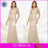 Supplier Custom Made Long Champagne Mother Of The Bride Dress With Jacket
