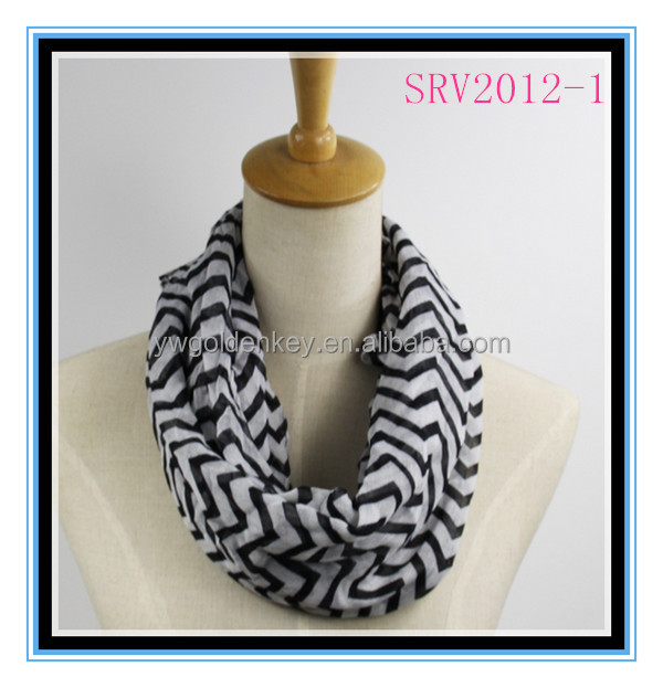 Hot selling autum winter 100% polyester voile multi-colors chevron infinity scarf