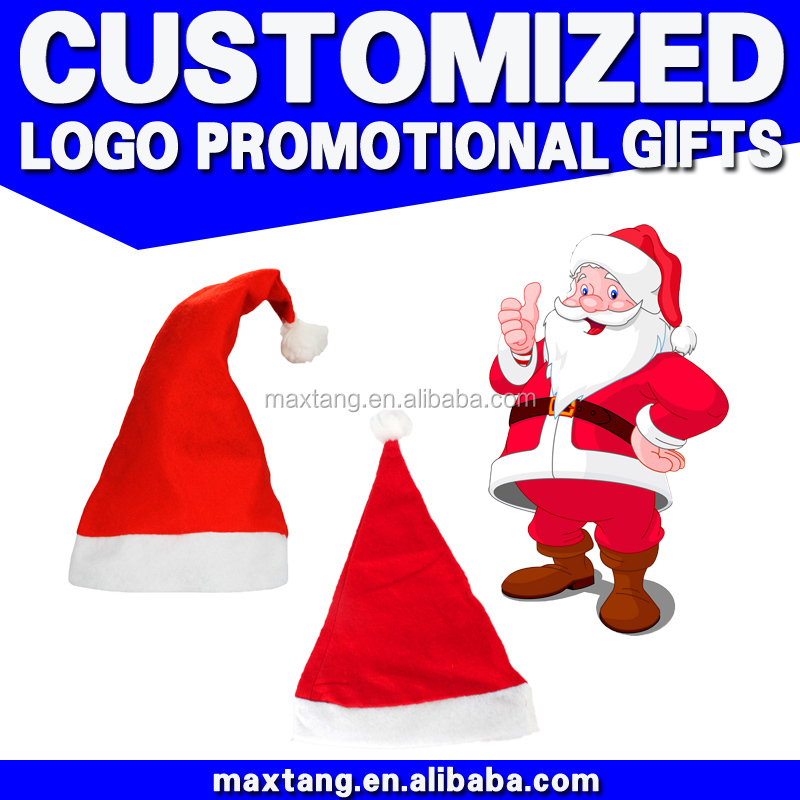 Bulk Buy From China 2016 Winter Promotional Custom Christmas Santa Hats Promotional Novetly Christmas Gift Hat