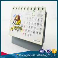 High quality printable Chinese desk stand calendar 2017 printed with metal spiral design printing daily table calendar