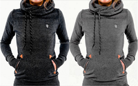 2015 walson fashion autumn women clothes pure color long sleeve hoodies with pocket