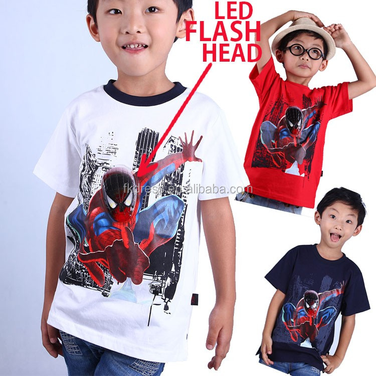 Hot Sale New 2016 boys' t shirts led flashing lights up boys spiderman t shirt with 100% cotton fabric