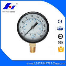 Manufacturer Air Gas Test LPG Steel Case Bourdon Tube 0-200psi/bar Bottom Brass Connector Pressure Gauge