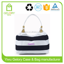 Unisex Gender and Tote bag style White/Navy color stripe beach bag with Rope handle
